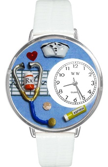 Clearance Whimsical Gifts Blue Face Nurse Watch