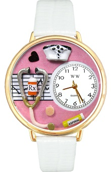 Whimsical Gifts Pink Face Nurse Watch