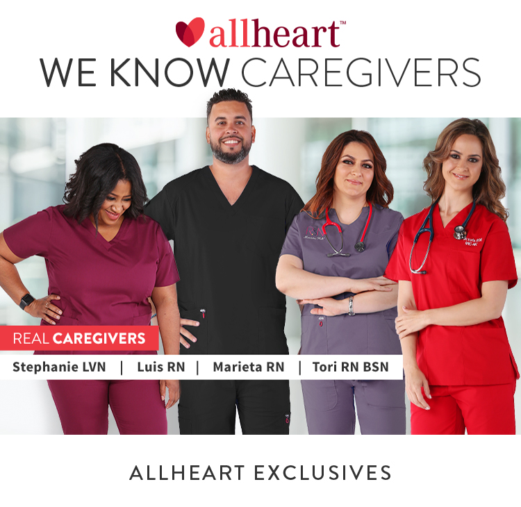 Four all heart real caregivers wearing allheart exclusives scrubs
