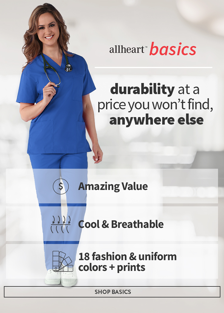 Nurse Tori wearing royal allheart basics scrubs