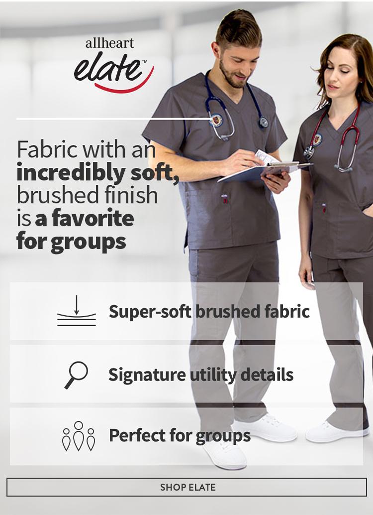 Medical staff wearing gray allheart elate scrubs