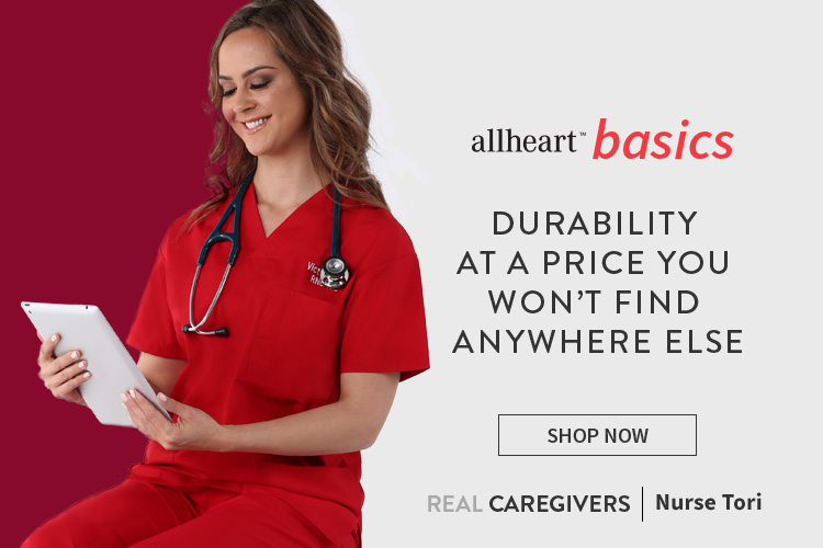 Nurse Tori wearing red allheart basics scrubs