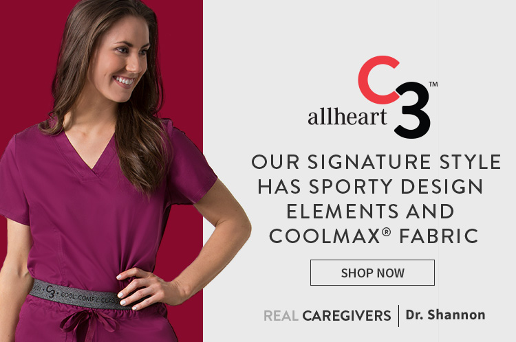 Dr. Shannon wearing wine allheart c3 scrub top