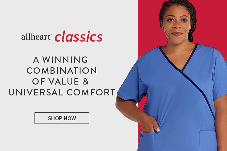 Real Caregiver wearing blue allheart classics scrubs