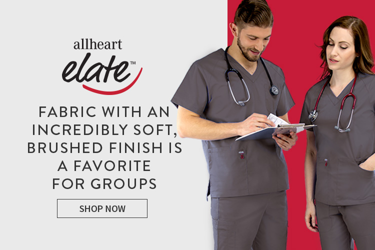 Medical staff wearing gray allheart elate scrubs