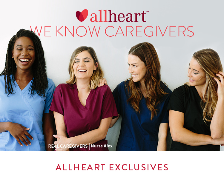Four female all heart real caregivers wearing allheart exclusives scrubs