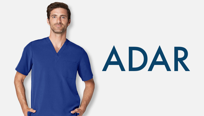 Man wearing blue Adar scrubs