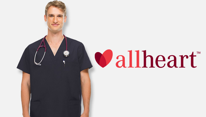 Man wearing black allheart mens scrubs