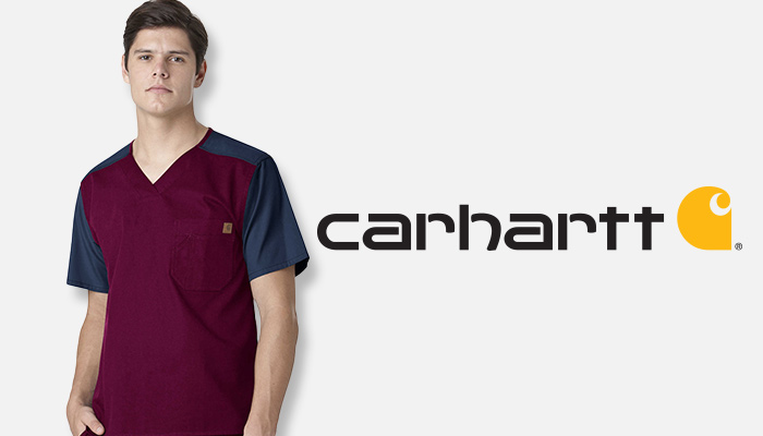Man wearing colorblock Carhartt scrubs