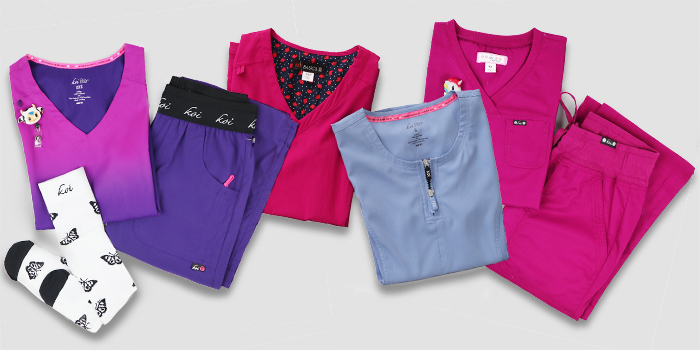 Brightly colored koi scrubs