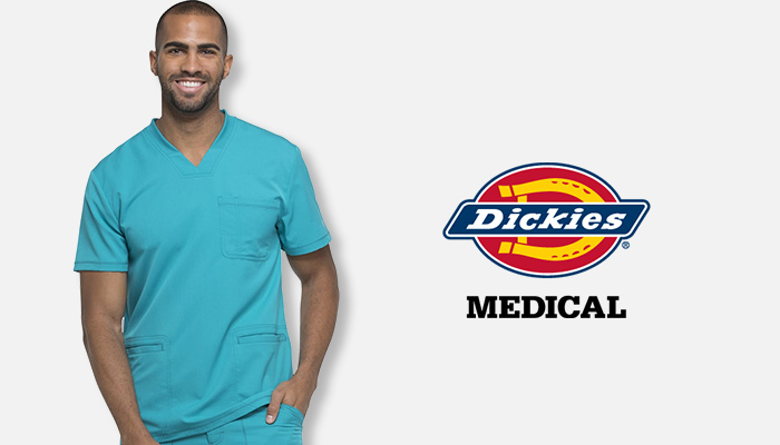 Man wearing teal blue Dickies scrubs