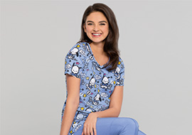 Nurse wearing blue Tooniforms scrubs
