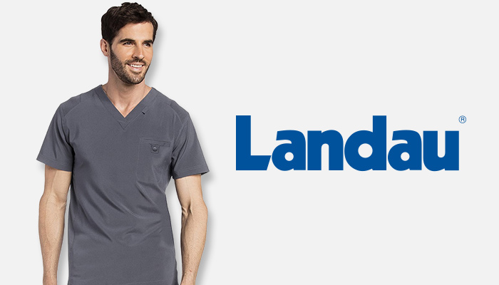 Man wearing gray Landau scrub top