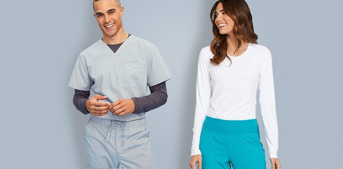Hospital employees wear long sleeve underscrubs