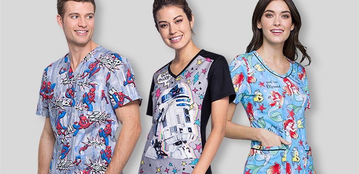 Three nurses model Tooniforms scrubs