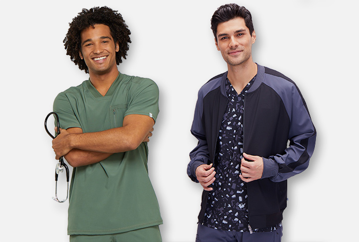 Two guys wearing stylish mens scrubs