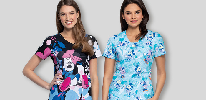 Two women model Minnie Mouse scrubs