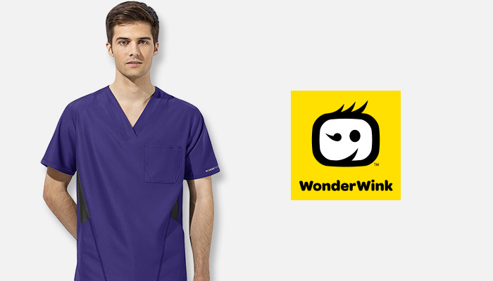 Man wearing purple WonderWink scrubs