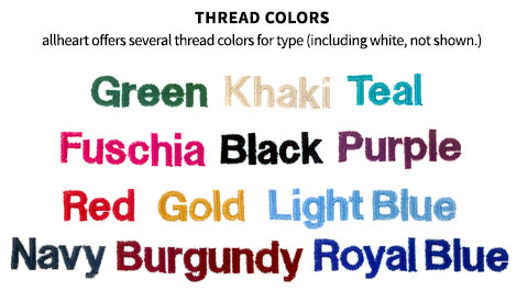 Image showing available thread colors for custom scrub embroidery