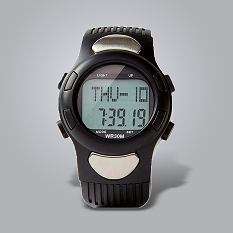 Black unisex digital heart rate and pedometer watch
