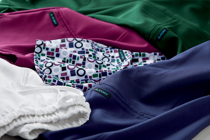 Close up of colorful scrubs