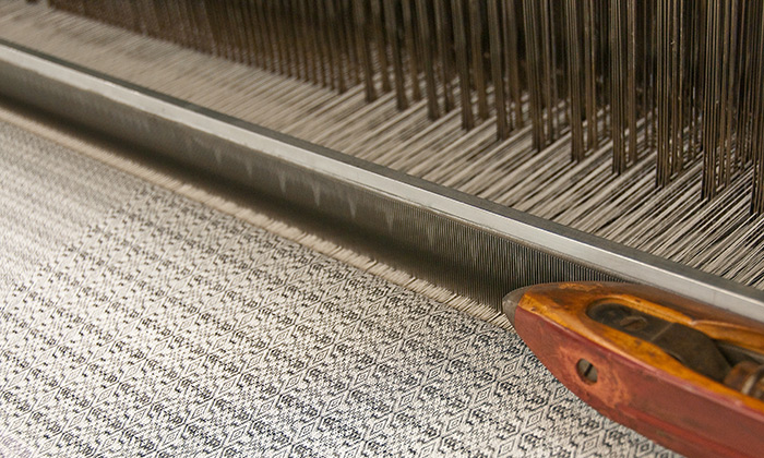Close up of industrial dobby weaver in factory