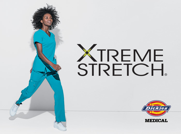 Doctor wears Dickies extreme stretch scrubs