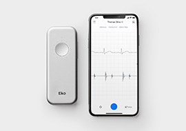 eko duo stethoscope next to phone with mobile app