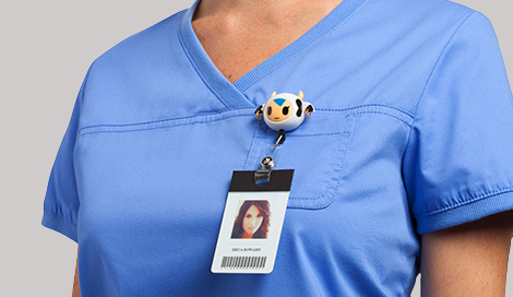 Female doctor wearing cute medical badge holder