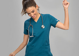 Female nurse wears stretch scrubs