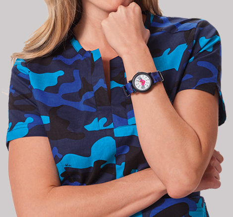 Nurse wearing colorful water resistant watch