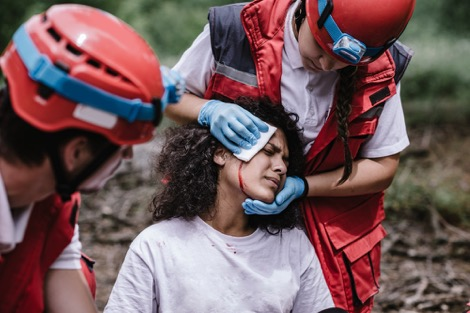 First responders treat head injury