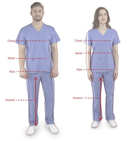 Body measurement locations for fitting scrubs