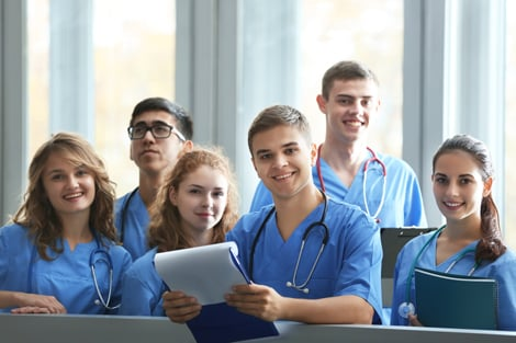 Group of male and female nursing students smiling