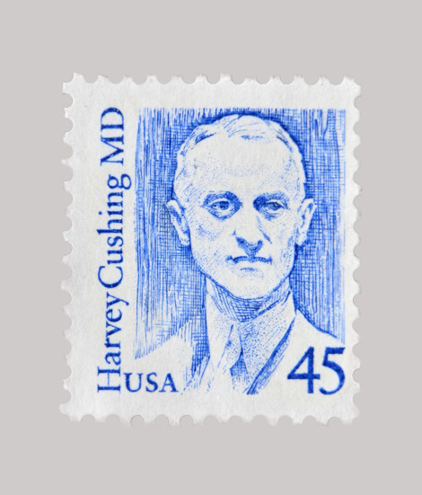 Postage stamp depicting Harvey Cushing American neurosurgeon