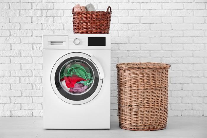 work clothes in washing machine