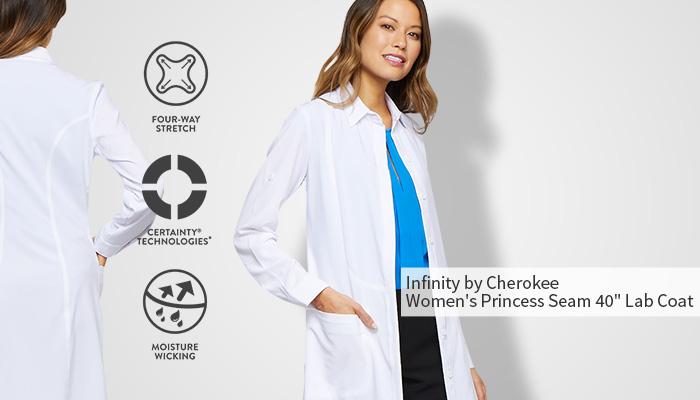 "infinity by cherokee princess seam 40"" lab coat"