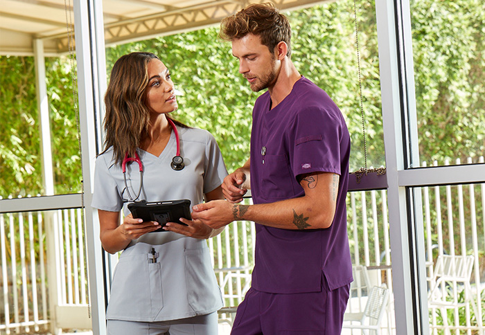 male and female wearing dickies scrubs