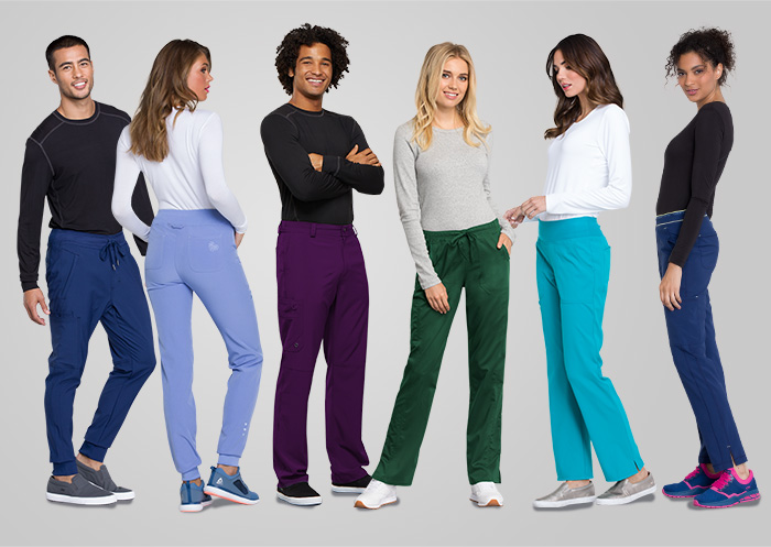 Medical workers wearing variety of scrub pants