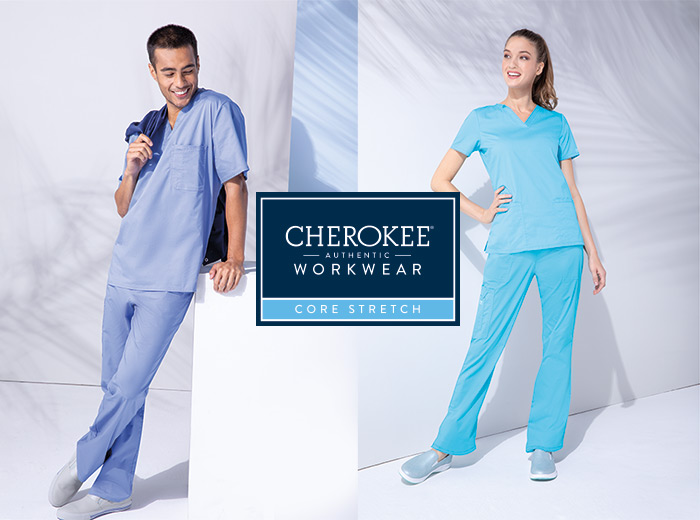 Medical workers wearing core stretch scrubs