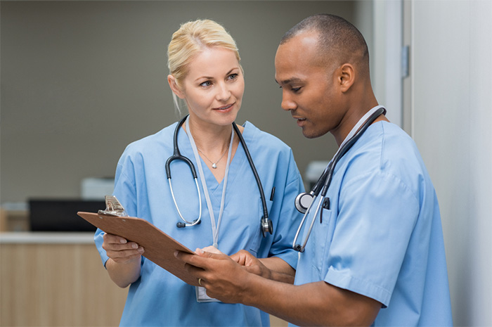medical staff members having a discussion