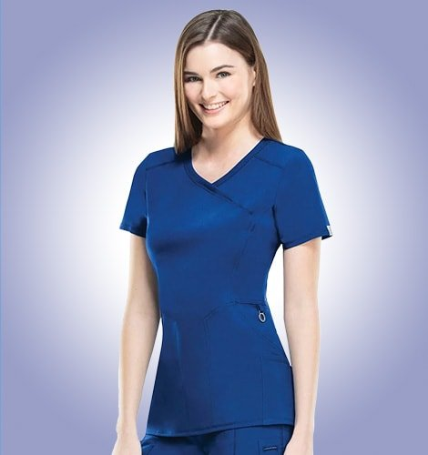 Female nurse wears flattering designer scrubs