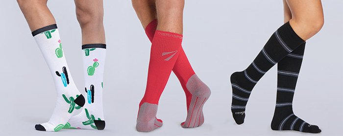 nurses wearing compressions socks with cute prints