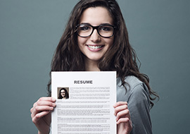 Female student nurse shows resume