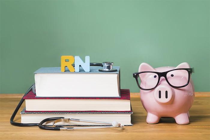 Textbooks and stethoscope on school nurse desk