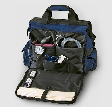 Open blue nursing bag showing nursing supplies