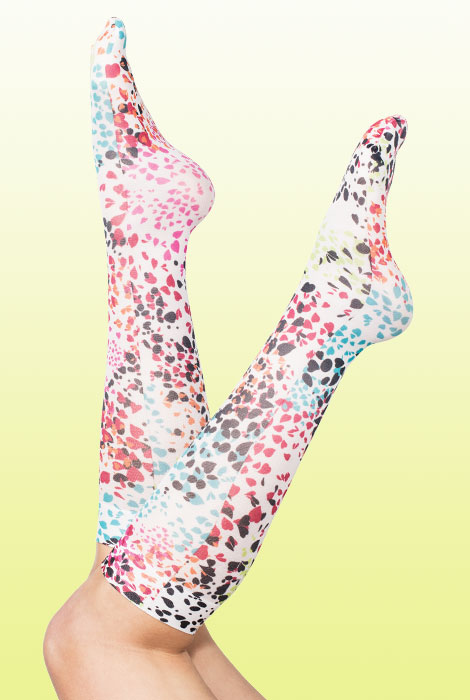 Woman's wearing stylish printed compression socks