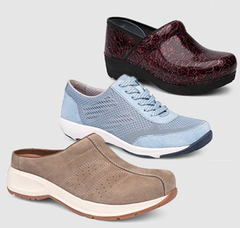 Three different styles of nursing shoes