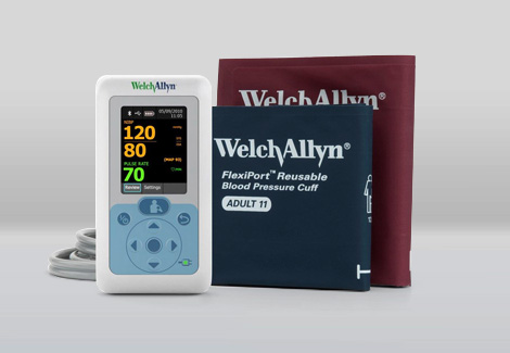 Welch Allyn digital blood pressure monitor against a white background