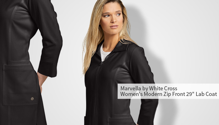 """marvella by white cross modern zip front 29"""" lab coat"""